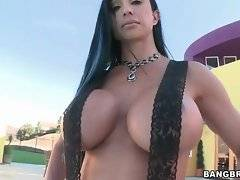 Hot mommy spreads legs to shows her pussy and rub it for a little bit.