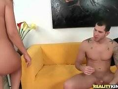 Nasty brunette milf sucks some cock and then sits down on it.