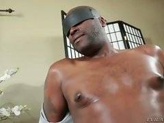 The fact he can`t see two awesome babes caressing each other, drives blindfolded black guy crazy.