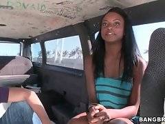 Sleight-of-mouth guys are tempting and seducing sexy black chick.