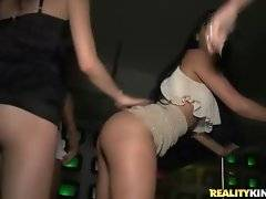Awesome slutty chicks are fondling each other while dancing.