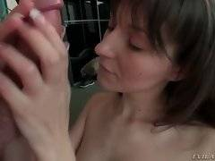 Penelope kneels down to clean Nacho`s rod from her own pussy juices with her mouth.