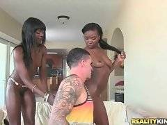 These naughty ebony chicks know how to warm guy up.