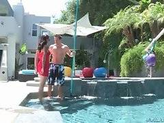 Slutty bored milf Dana Vespoli tempts her young tough pool cleaner.