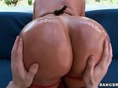 Awesome Latina Sandra gets her delicious big booty oiled.