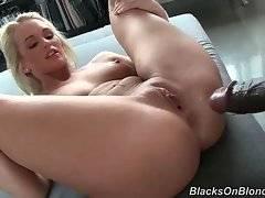 Black guy likes to pound white hottie Emily Austin`s tight hole with his large boner.