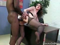 White lady doctor gets her tight anus stretched on her own office desk.