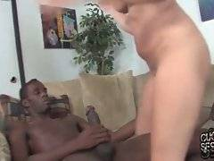 Poor cuckold watches his slutty girlfriend having fun with three black dudes.