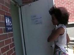 Ebony cutie Ivy Sherwood comes to public restroom looking for nasty fun.