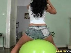 Kira Queen`s yummy tight booty looks great on fitness ball.