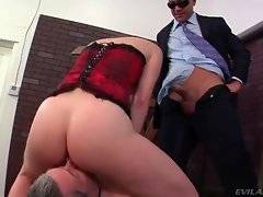 Lady enjoys her slave`s new boss`s dong and laughs at her slave`s little penis.