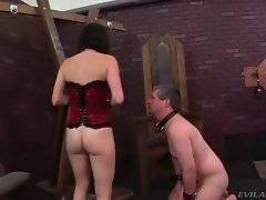 Dominating brunette chick has fun with her slave`s new boss.