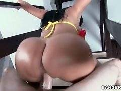 This bootylicious brunette is fond of good cock riding.