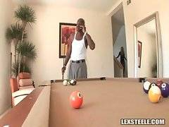 Lexington Steele is playing pool when fantastic white babe Shyla Stylez joins him.