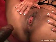 Horny black dude is stretching craving Asian pussy.