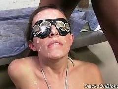 Five horny black friends feed nasty Jamie Jackson with their gooey semen.