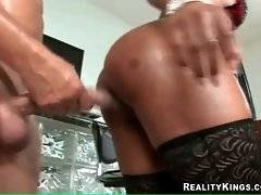 Two hot looking chocolate babes with big asses take turns getting fucked hard.