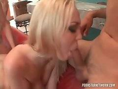 Hungry toned fellows take turns screwing slutty blond cutie.