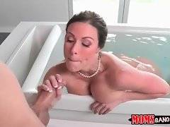 Experienced Kendra Lust knows well how to drive tough young guy crazy.