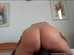 Sexy booty white slutie is jumping on massive black dong.
