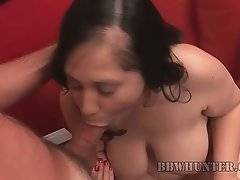 Naughty amateur plumper takes her dress off and tastes dude`s dong.