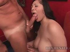 Chubby brunette Teedra works her mouth at juicy cock.