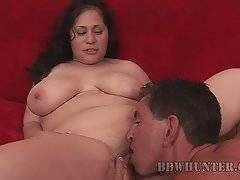 Breasted sweetie Teedra spreads her legs and gets pussy licked.