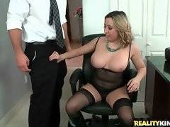 Kat Krown owns incredible natural jugs and Jmac is fond of touching them.