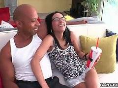 Big black dude Shane Diesel and yummy girl Tia Cyrus are glad to meet each other.
