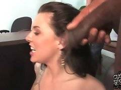 Chayse Evans kneels down to catch her black lovers` cumshots.