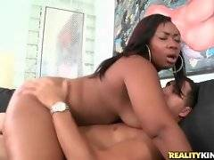 Cock hungry big ebony babe does her best to pleasure white guy.