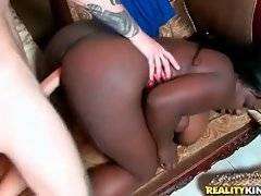 Fleshy dark chocolate chick Luxury Amore is fucked by white dude.