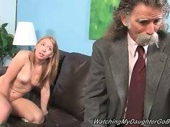 Cute blonde Ami Emerson slurps huge black cock to make her dad accept it.
