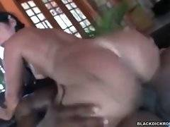 Slut gets her big butt shaking when she jumps on fat black bone.