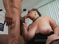 Naughty plump lady gives her new black friend hot blowjob.