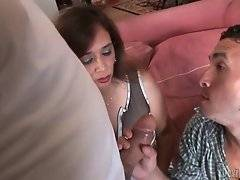 Guy sucks friend`s cock showing his wife how she should do it.