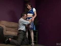 Horny guy starts caressing sexy transsexual cheerleader La Cherry Spice.