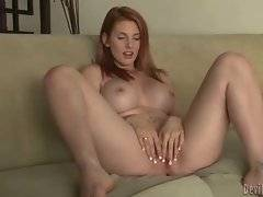 Gorgeous redhead babe is going to have some solo fun.