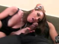 Slutty Alana Rains is smoking and swallowing huge black dick.