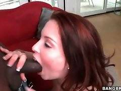 Cock loving white chick kneels down to warm her black partner up.