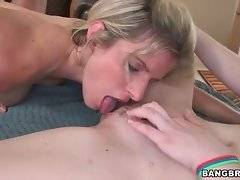 Attractive lady and her sweet step daughter fuck with one stud.