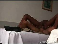 Craving white stud thoroughly penetrates slutty black babe.