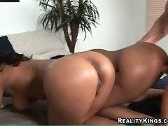 Two black babes stay on all four together and get fucked one by one.
