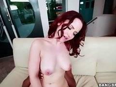 Breasted redhead slutie has fun with tough black dude.
