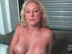 Black guys spray cum on white babe`s boobs and her cuckold licks it off.