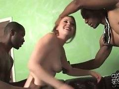 Three tough black dudes are sharing pretty babe on her boyfriend`s eyes.