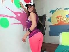 Sweet brunette stripper Hope Howell visits Mike Adriano`s studio.
