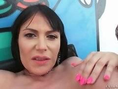 Nasty Bella-Nikole Black licks Eva Karera`s anal juices off from Mike`s rod.