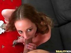 Lovely Sam Summers passionately slurps Bruno Dickenz`s dong.