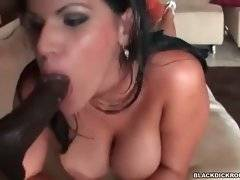 This naughty Latina loves the taste of big erect black cock.